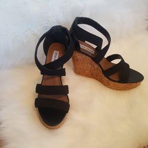 Steve Madden Black Strappy Wedge Heels
